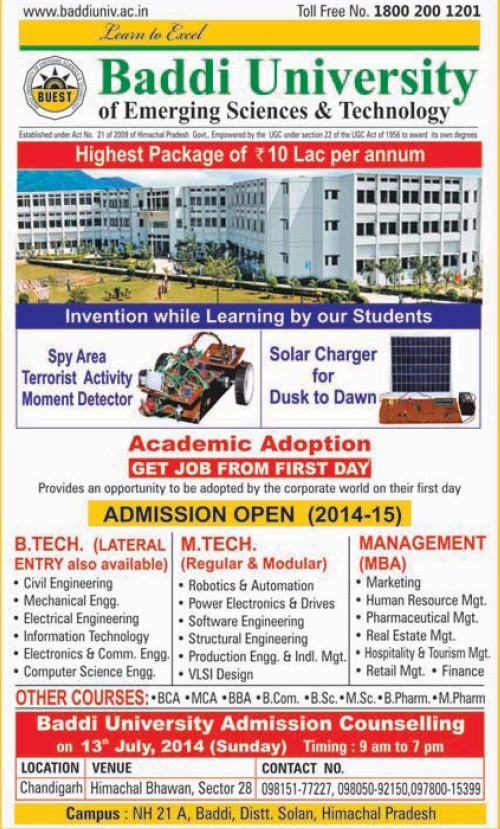 B Tech in Mechanical Engineering (Baddi University of Emerging Sciences and Technologies)