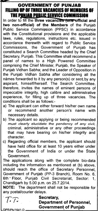 official and non official members vacancies (Punjab Public Service Commission (PPSC))