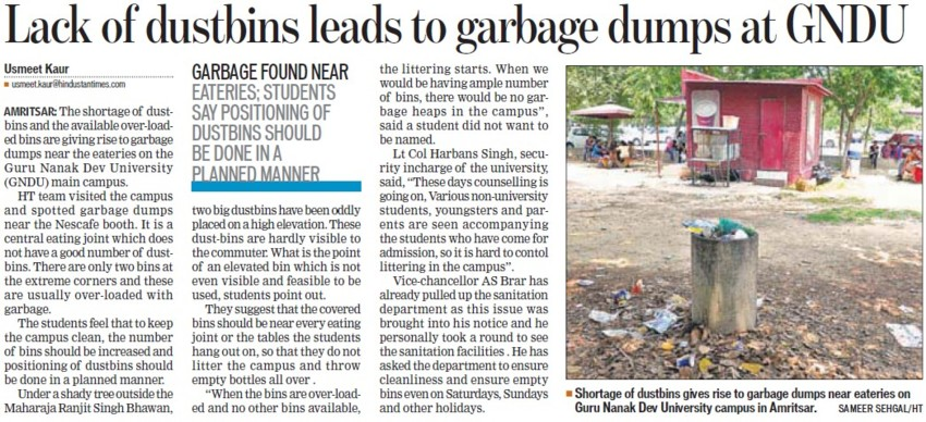 Lack of dustbins leads to garbage dumps (Guru Nanak Dev University (GNDU))