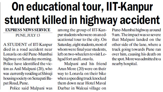 IIT K student killed in highway accident (Indian Institute of Technology (IITK))