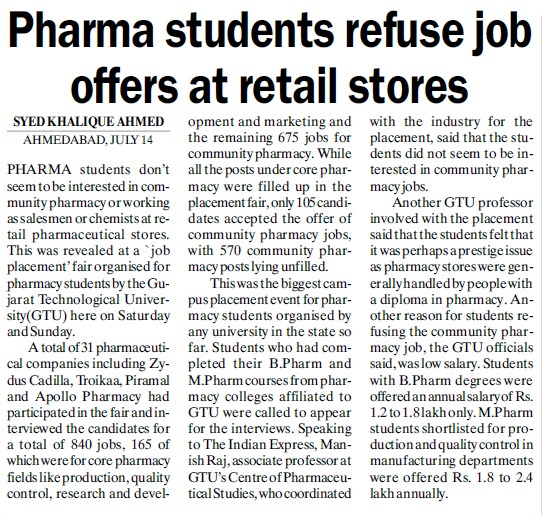 Pharma students refuse job offers at retail stores (Gujarat Technological University)