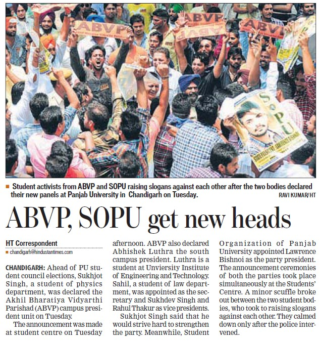 ABVP, SOPU get new heads (Students of Panjab University (SOPU))