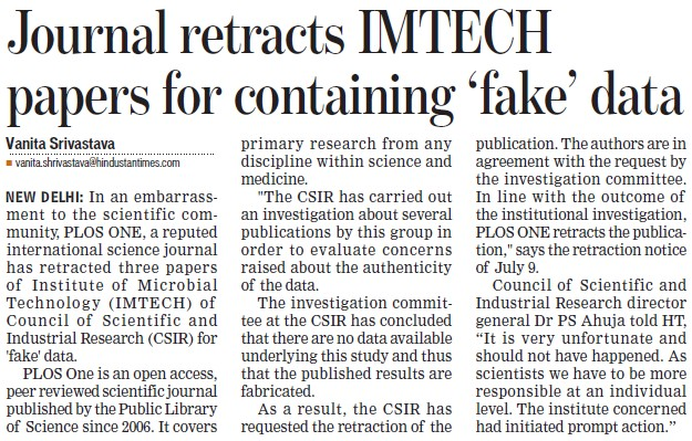 Journal retracts IMTECH papers for containing fake data (Institute of Microbial Technology (IMTECH))