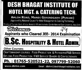 BSc in Hotel Administration (Desh Bhagat Institute of Hotel Management and Catering Technology)
