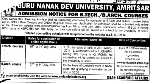 B Tech and B Arch courses (Guru Nanak Dev University (GNDU))