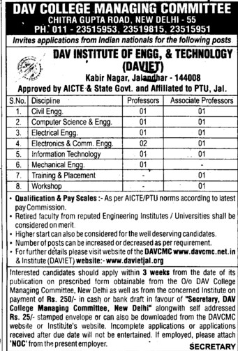 Associate Professor for ECE (DAV Institute of Engineering and Technology DAVIET)