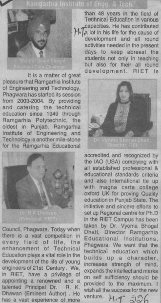 Message of Principal RK Dhawan (Ramgarhia Institute of Engineering and Technology RIET)