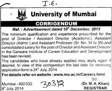 Assistant Director (University of Mumbai (UoM))