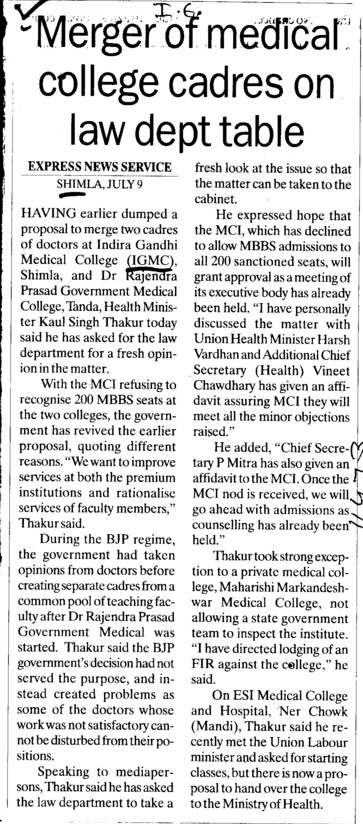 Merger of medical college cadres on law dept table (Indira Gandhi Medical College (IGMC))