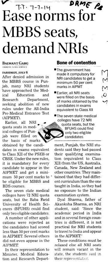 Ease norms for MBBS seats demand NRIs (Director Research and Medical Education DRME Punjab)