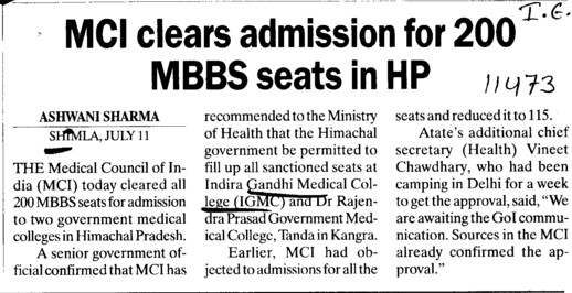 MCI clears admission for 200 MBBS seats in HP (Indira Gandhi Medical College (IGMC))
