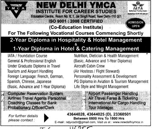Diploma in Hotel Management (ND YMCA Institute Of Management)