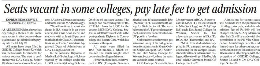 Seats vacant in some colleges, pay late fee to get admission (GGDSD College)