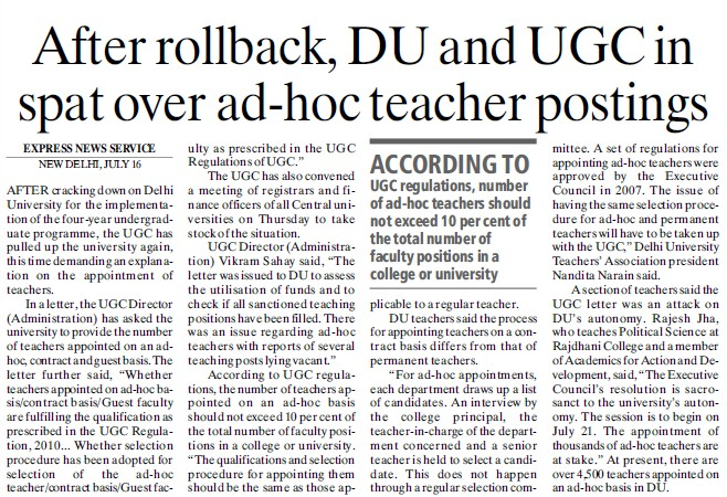 DU and UGC in spat over adhoc teacher posting (Delhi University)