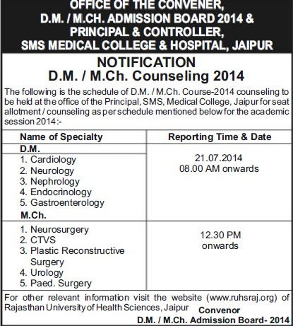 DM and MCh programme (SMS Medical College)