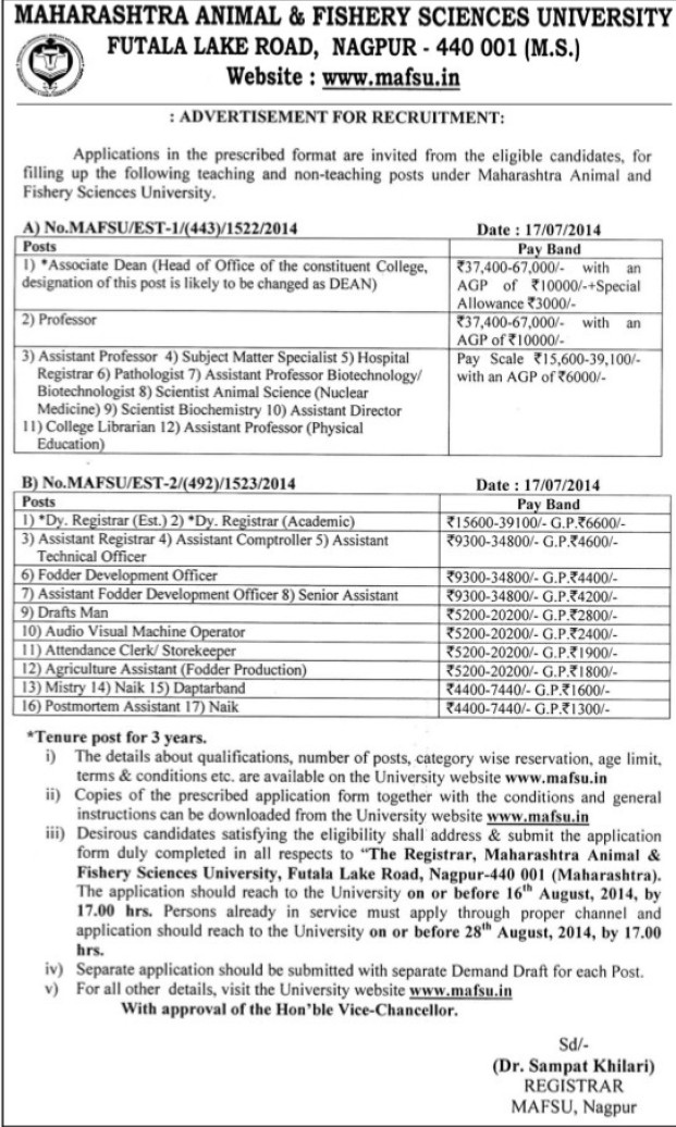 Subject matter specialist and Asstt Director (Maharashtra Animal and Fishery Sciences University)