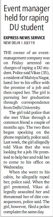 Event Manager held for raping DU student (Delhi University)