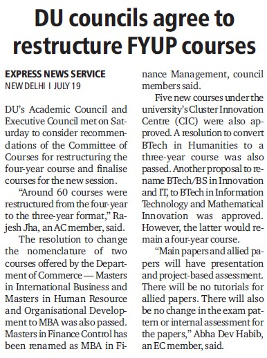 DU councils agree to restructure FYUP courses (Delhi University)