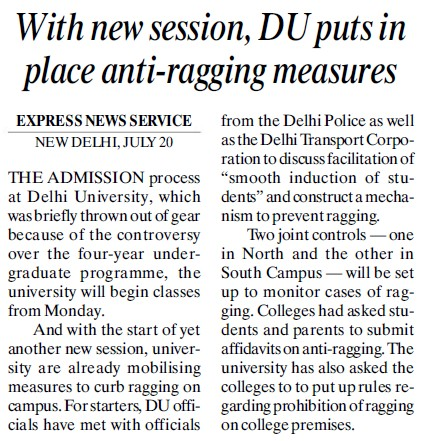 DU puts in place anti ragging measures (Delhi University)