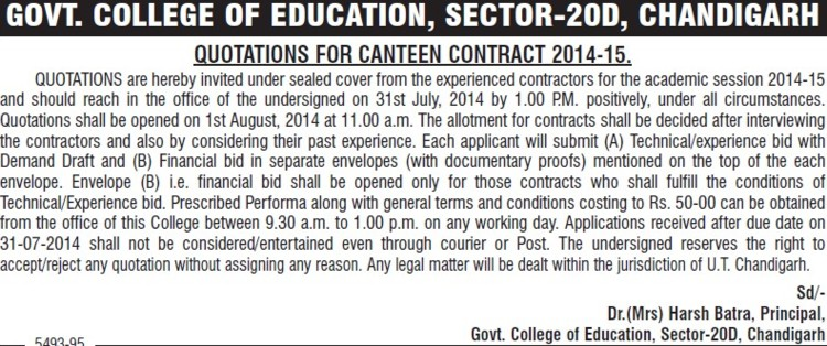 Canteen Contract (Government College of Education (Sector 20))