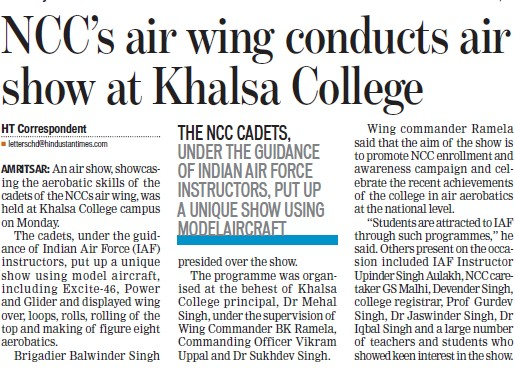 NCC air wing conducts air show (Khalsa College)
