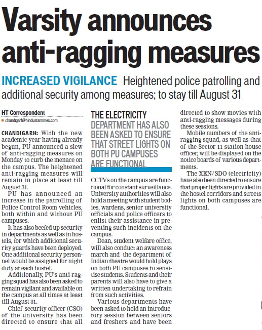 Varsity announces anti ragging measures (Panjab University)