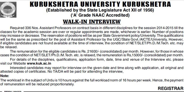 Faculty on regular basis (Kurukshetra University)
