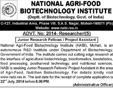 Project Assistant and SRF (National Agri Food Bio Technology Institute (NABI))