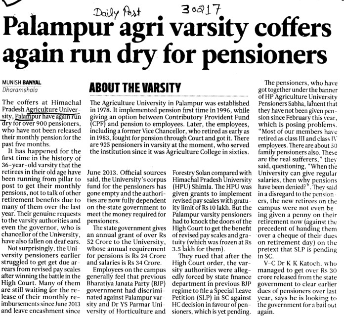 University coffers again run dry for pensioners (Chaudhary Sarwan Kumar (CSK) Himachal Pradesh Agricultural University)