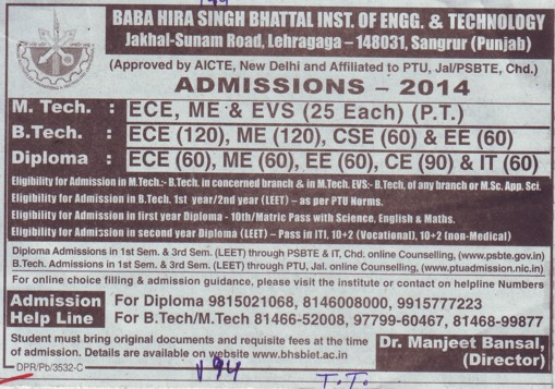 B Tech in ME and EED (Baba Hira Singh Bhattal Institute of Engineering and Technology (BHSBIET))