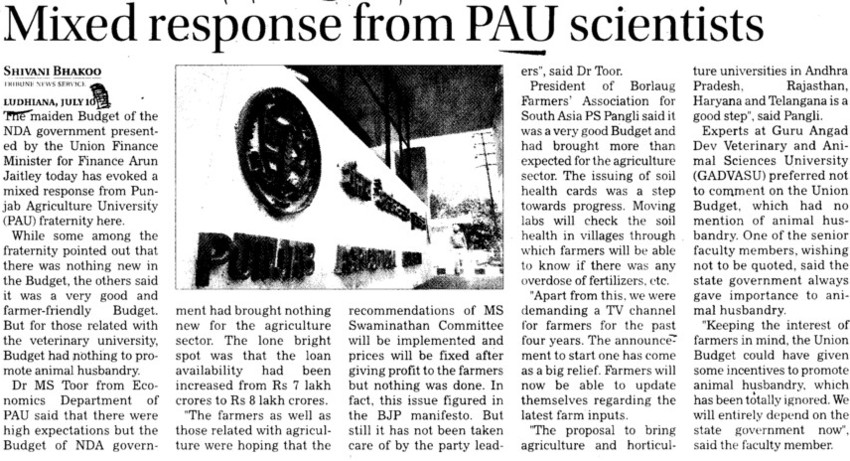 Mixed response from PAU scientists (Punjab Agricultural University PAU)