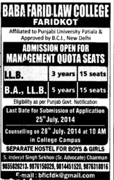 LLB course (Baba Farid Law College)