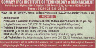 Training and Placement Officer (Somany Institute of Technology and Management (SITM))