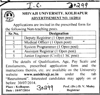 DR and Medical Officer (Shivaji University)