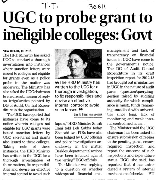 UGC to probe grant to ineligible colleges (University Grants Commission (UGC))