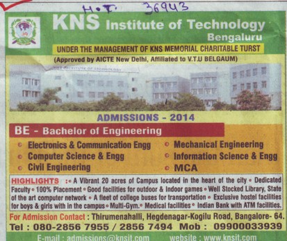 BE in CE and ME (KNS Institute of Technology)