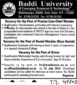 Proctor cum Chief Warden (Baddi University of Emerging Sciences and Technologies)