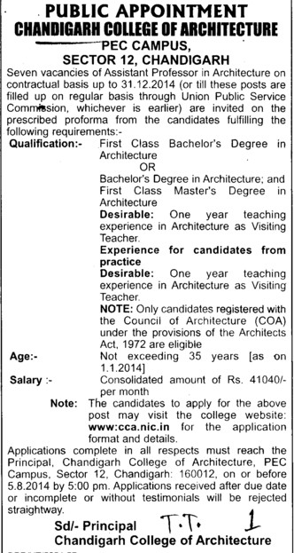 Asstt Professor in Architecture (Chandigarh College of Architecture)