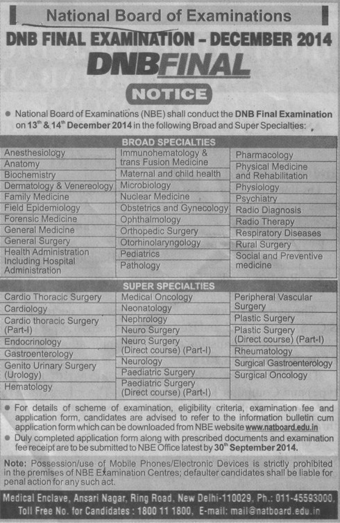 DNB Final Examination 2014 (National Board of Examinations)