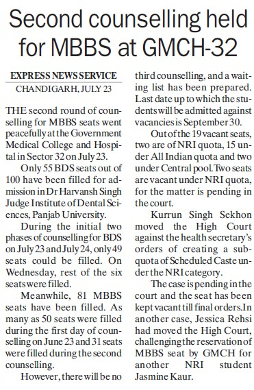 Second Counselling held for MBBS (Government Medical College and Hospital (Sector 32))