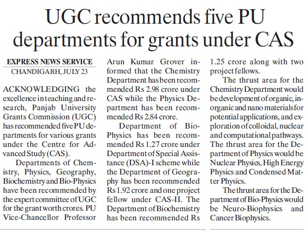 UGC recommends five PU departments for grants (University Grants Commission (UGC))
