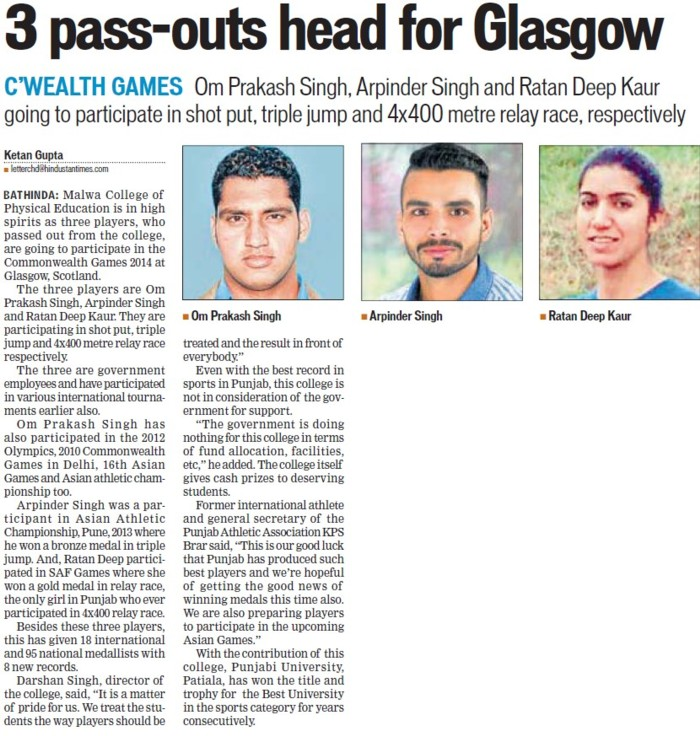 Three pass outs head for Glasgow (Malwa College of Physical Education)