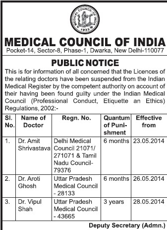 Doctors licence suspended (Medical Council of India (MCI))