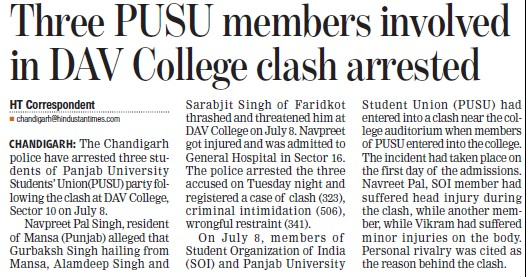 PUSU members involved in DAV College clash arrested (Panjab University Students Union PUSU)