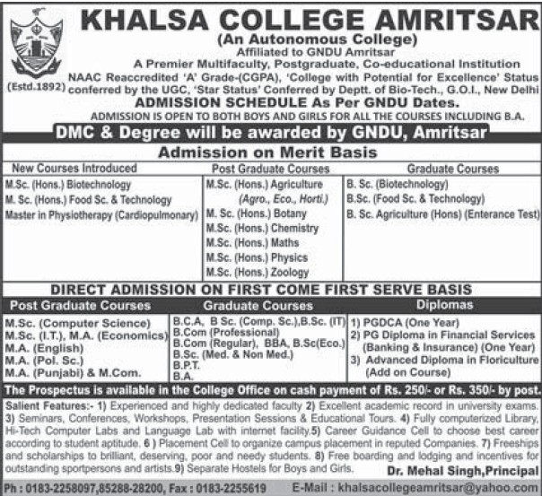 MSc in Biotechnology (Khalsa College)