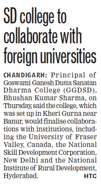 SD College collaborate with foreign universities (GGDSD College)