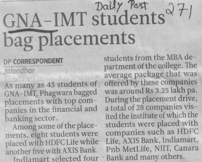 GNA IMT students bag placements (GNA Institute of Management and Technology)