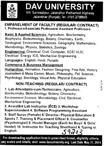 Lab Attendants cum Instructor (DAV University)