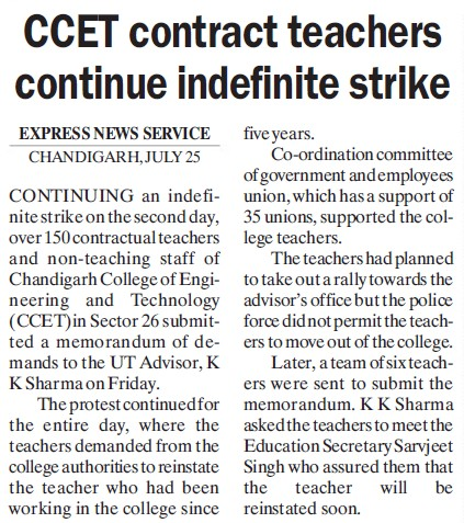 CCET contract teachers continue indefinite strike (Chandigarh College of Engineering and Technology (CCET))
