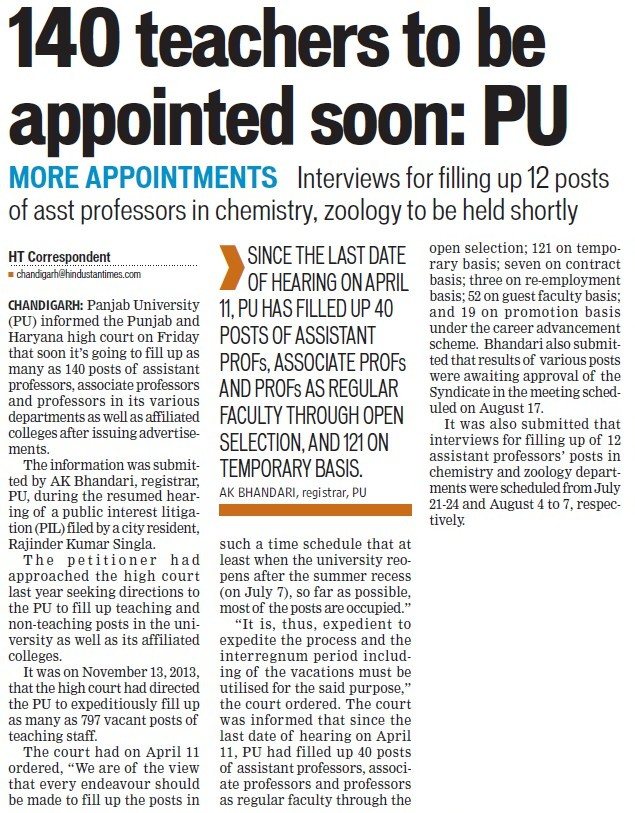 140 teachers to be appointed soon (Panjab University)